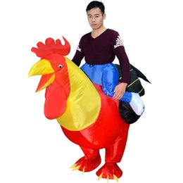 Barato Novo Grande Galo-Frete grátis New Inflatable Adult Inflatable Costume Rooster Chicken Big Cock Blow Up Funny Animal Cosplay Suit