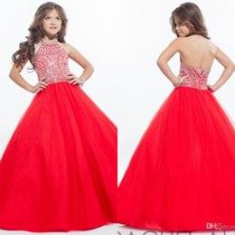 rhinestone lengths 2019 - Rachel Allan 2019 Sparkly Girls Pageant Dresses for Teens Halter Tulle Floor Length Rhinestone Little Girls Prom Party D