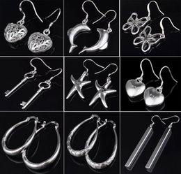 Indian Ear Rings Wholesalers Canada - Love Heart Brand Earrings for Women Jewelry High Quality Plating 925 sterling silver Ear hoop Earrings fashion gifts hyperbole big Ear ring