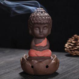 $enCountryForm.capitalKeyWord Australia - Little Monk Thurible Decorative Gifts Ceramic Purple Sand Buddha Incense Burner For Home Decor Arts And Crafts 13cy C R