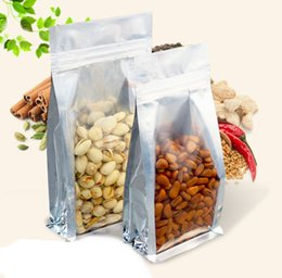 Discount wholesale stand up pouch - Clear Silver Aluminum Foil Stand Up Food Storage Zip Lock Self Seal Pack Bag Side Gusset Zipper Pouches 100PCS