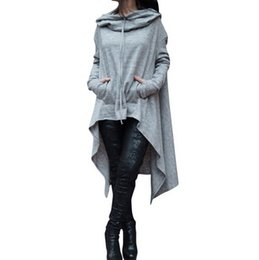 Manto Largo Baratos-Oversize Hoodie Sweatshirt Mujeres Casual Outwear Hoody Loose manga larga Mantle Hooded Cover Pullover Ropa 2018 Nuevo