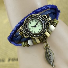 Discount wrap watch wholesale - Vintage Fashion Casual Weave Wrap Cowhide Braid Girl Bead Leaf Dangle Bracelet Bangle Quartz Wrist Dress Ladies Watch