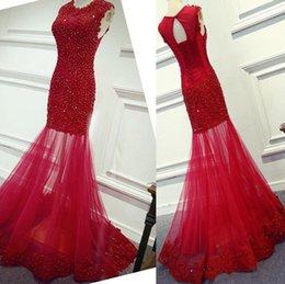 see through wedding dress crystal beading Canada - 2019 New Fashion O-neck Applique Lace with Crystals Red Lace Mermaid Prom Dress See Through Evening Gowns Party Formal Dresses