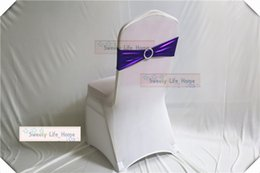 stretch sashes wholesale NZ - Free shipping Nice bronzing Coated Spandex Chair Sash Purple color Metallic Bands With round Buckle wedding Stretch Chair Bow