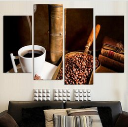 framed paint coffee Canada - 4 Pcs Coffee Large HD Wall Art PictureTop-rated Canvas Print Painting For Living Room Decoration Home Picture Unframed