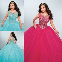Robes Deboutantes Blinges Pas Cher-Vintage Perler Strass Quinceanera Bling Sheer Jewel Neck Bonbon 16 Masquerad boule Robes Tulle Cristaux Debutante Ragazza Robe