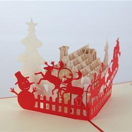 $enCountryForm.capitalKeyWord Canada - Handmade Hollow Kirigami Santa Christmas House Folding Postal Card X'mas 3D Pop Up Greeting Cards free shipping