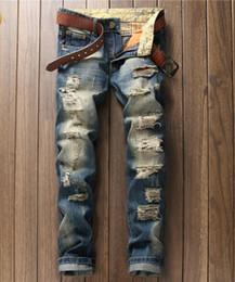 bc964f66c8 European Style Men Jeans Famous Brand Holes Frazzle Jeans Mens Casual Leisure  Denim Long Pants Light Blue