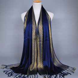 glitter shawl muslim Canada - Women Scarf Gold thread Fashion Print Glitter Tassel Cotton Lurex Plaid Stripe Shawls Scarves Long Hijab Muslim Scarf 16 Color