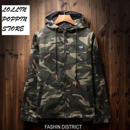 Discount camo patterns print Wholesale- Men Hip Hop Hooded Camouflage Jacket With Letters Printed At Back New 2017 Mens Hiphop Skateboarder Jackets C