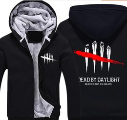 zip up sweatshirt hoodies Australia - Game Dead by Daylight Super Warm Thicken Fleece Zip Up Hoodie Men's Casual Death Is Not An Escape Print Coat Sweatshirt