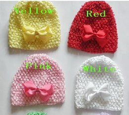 "selling hair bows 2019 - 20pcs baby Infant waffle crochet hats hair bows clips sunny soft toddler beanie with 3"" bows stretch caps feshion h"