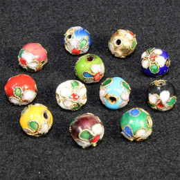 Wholesale 8mm Cloisonne Beads 100pcs lot Multi Colors Filigree Silver Blue Spacer Loose Beads For DIY Jewelry Bracelet Crafts & Charms Cloisonne Bead