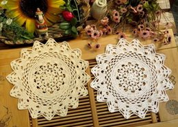 crochet round cloths Canada - Wholesale- 30CM HOT Lace cotton table place mat pad cloth crocheted placemat cup pot mug holder glass round doilies dining kitchen
