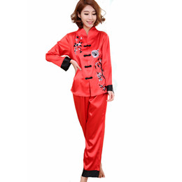 Wholesale- Hot Sale Red Chinese Style Women Silk Pajamas Set Embroidery  Pyjamas Suit Handmade Button Sleepwear Flower 2PCS M L XL WP001 7dfdf44d9