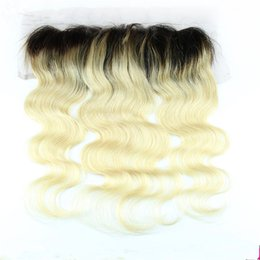 Ombre Lace Frontal Canada - #1B 613 Two Tone Brazilian Hair Lace Frontal Closure Body Wave Human Hair Pieces Ombre 13X4 Ear to Ear Lace Frontal Bleached Knots