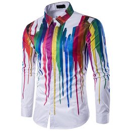 Robes Fines À Manches Longues Pas Cher-2017 New Fashion Men Shirt 3D mince mince manches longues Rainbow Striped Pattern Hommes Fitness Chemises personnalité High Quality Men Dress Shirts