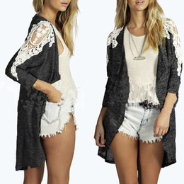 $enCountryForm.capitalKeyWord Canada - Lace stitching long - sleeved cardigan jacket loose lapel long - sleeved printed knitted gray large size women