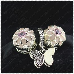 loose sterling silver charms wholesale Canada - 2016 New Spring S925 Sterling Silver Charms and Murano Glass Loose Beads Set Fits European Jewelry Charm Bracelets-Flowers & butterflies Set