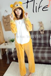 Costumes Halloween Pour Les Adultes Pas Cher-cosplay costumes Royaume-Uni Anime Unisexe Adulte Rilakkuma Bear Onesies Enfants Pyjamas Cosplay Costume Pour Halloween Carnaval Masquerade Party
