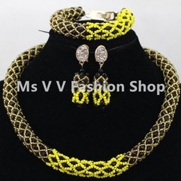 $enCountryForm.capitalKeyWord Australia - african costume jewelry black yellow gold color crystal handmade making fashionable nigerian wedding party necklace bracelet earring set