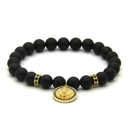 8mm cz bracelet UK - Wholesale 10pcs lot 8MM Black Matte Agate Copper Beads Men Micro Pave CZ Lion Head Charm Bracelets Mens Jewelry