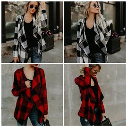 Barato Luva Longa Malha Tops-Mulheres Cardigan Loose Sweater Long Sleeve Plaid Knitted Outwear Jacket Coat Tops Lapel Cloak Coats 50pcs OOA3826