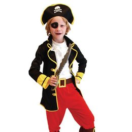 Barato Fantasias De Performance Infantil-Halloween Children Caribbean Pirate Cosplay Theatre Performance Apparel 6 Pcs Sets Kids Costume Dress Up Dance Dress Baby Clothing
