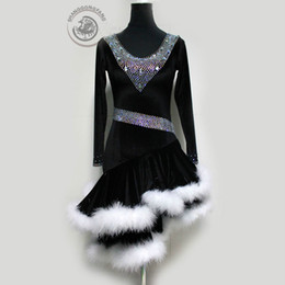 Sexy Latin Dancewear Baratos-Custom Made Adult / Child New Style Latin Dance Costumes Sexy Senior Stones Long Sleeves Vestido de baile latino para mujer Latin Dancewear S-4XL