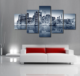 Unframed 5 Panels Abstract Urban Night Scene Canvas Print Painting Modern Wall Art For Pcture Home Decor Artwork Deals