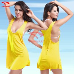 Wholesale swimwear free shipping europe online – 2016 women beach skirt swimsuits bikini blouse cover ups Halter Dress Europe and America swimwear Beach skirt