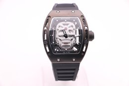 cool silver watches NZ - BOYUHENG 052 series man cool watch silver skull dial man's black rubber steel case quartz watch