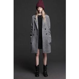 c00e1831da80 US UK 2018 Fall Winter Women Simple Classic grey Wool Long Coat Double  breast Female Outerwear Warm manteau femme abrigos mujer