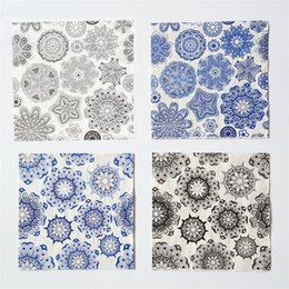 vintage decoupage paper napkin tissue blue gray white black wedding party cocktail festive floral towel decoration guardanapo serviette mat