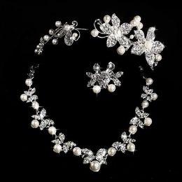 $enCountryForm.capitalKeyWord Australia - Hot Styles 2017 Cheap Pearl necklace and earring set With Tiaras Silver plated Rhinestones Diamond Designer Wedding Bridal Accessory Jewelry