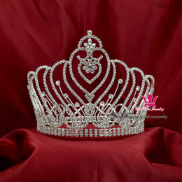$enCountryForm.capitalKeyWord Canada - Fashion Rhinestone Crowns Tiaras Large Full Round Popular Gorgeous Princess Headwear Hair Accessories Bridal Wedding Pageant Queen CL009