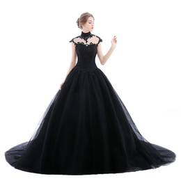 Chinese  Elegant Black Gothic Wedding dresses Applique Lace Tulle 2018 Illusion Plus Size Lace Saudi Arabia Bridal Gown Chapel Train Ball Bride manufacturers