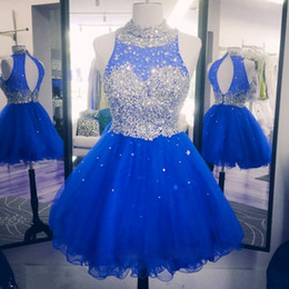 Blue Hollow Canada - 2017 Sparkly Crystal Beaded Homecoming Dresses For Sweet 16 Crew Neck Hollow Back Puffy Tulle Royal Blue Red Graduation Dresses Party Gowns