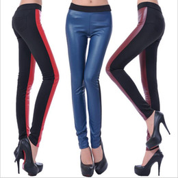 Barato Pernas De Couro Pé-Leggings High Waist PU Leather Jeggings Lady Sexy Stretch Tights Skinny Plus Size Lápis Calças Mulheres Elastic Slim Leggings Foot Calças B2626