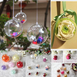 Gift Craft Christmas Ornament Canada - Christmas Tree Ornament Favor Gift Candy Ball Box Transparent Clear Craft Christmas Tree Gift Balloons Decoration