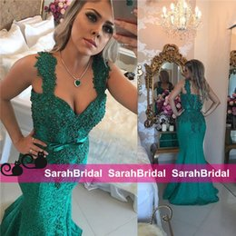 Barato Baile De Formatura Sexy-Emerald Green Full Lace Evening Dresses com comprimento do assoalho Ajustado e Flare Fitted Sexy Mermaid Fishtail saia para Prom Vestidos de festa de vestuário formal