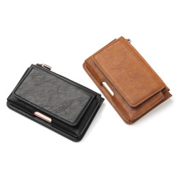 Leather Phone Case For Blackberry UK - Leather Phone Pouch Waist Bag for Samsung Galaxy S8 Plus Phone Case Belt Clip Bag Men Wallet Phone Cover with Card Holder