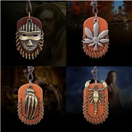 leather mask wholesale Canada - 4 Style Vintga Leather And Metal Pendant Necklaces Mysterious Mask  Maple Leaf  Claw  Scorpion Fashion Jewelry For Men And Women YC2039
