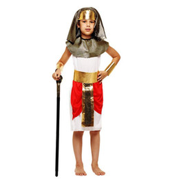 Barato Traje De Fantasia De Ouro-Kids Boys Gold Prince Eypt Theme Costume Elegante Rei Rainha Faraó Cosplay Vestuário Set Halloween Carnival Costumes Fancy Dress