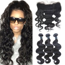 34 inches hair Australia - 8A Brazilian Body Wave Hair With 13X4 Lace Frontal 100% Human Hair 3 Bundles With Ear To Ear Lace Frontal Closure