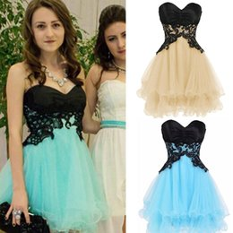 Robes Courtes Mignonnes Pour Fêtes Pas Cher-Mignon Mini Robe courte Homecoming sweetheart autocollantes Tulle Tiered Mint Light Blue Champagne Robes de cocktail Robes de soirée Robes de bal