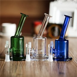 Vente en gros Bongs en verre Mini Bubbler Verre Cendrier Catcher Inline Percolator Pipe À Eau Oil Rigs Bong Verre Eau Pipe Clear Blue Green