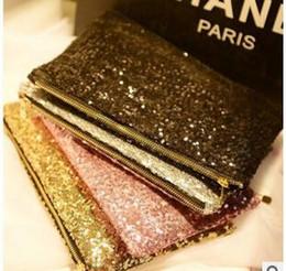 Silver Nylon Sequins NZ - Fashion Women's Gold Handbag Sparkling Sequins Dazzling Clutch Party Evening Bag Ladies Handbag Girls Crystal Bling Purse Cosmetic bag