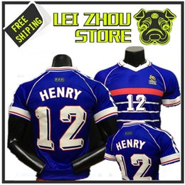 Discount france jersey soccer football - 1998 FRANCE home jersey 98 Thailand Quality retro RETRO VINTAGE ZIDANE #10 HENRY #12 MAILLOT DE FOOT uniforms Football J